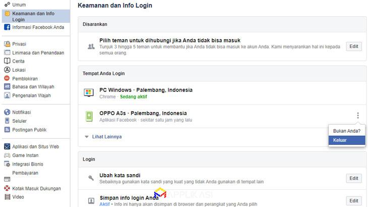 Cara logout Facebook Messenger