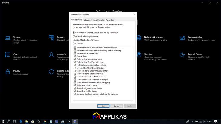 Cara Mempercepat Windows 10- disabel spesial effect